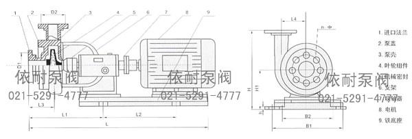 联接式离心泵结构示意图