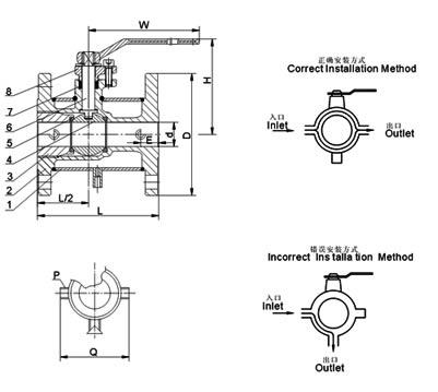 BQ41/BQ71法兰连接保温球阀(特种球阀) 结构图