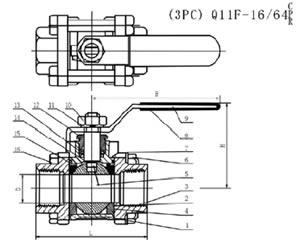 Q11F三片式球阀结构图