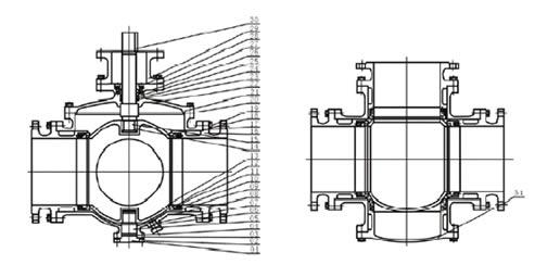 q341f三通四密封涡轮球阀 结构图1