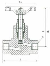 J13W-1.6P/32PⅢ型內螺紋針型針形閥 外形尺寸圖