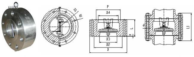凸耳对夹双瓣旋启式止回阀 外形尺寸图图片
