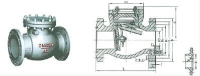 H44H/Y/W-160~250型旋启式法兰止回阀 外形尺寸图